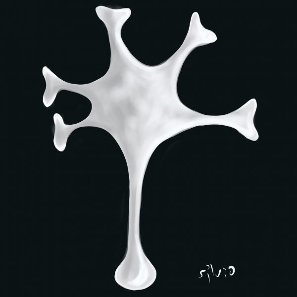 Neuron's illustration in black and white